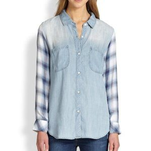 Rails Denim Chambray & Blue Plaid Blouse XS